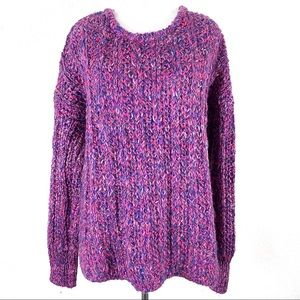 Gap Chunky Ribbed Pullover Sweater Pink Purple M